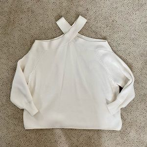 Zara Cold Shoulder Knit Sweater White Sz M